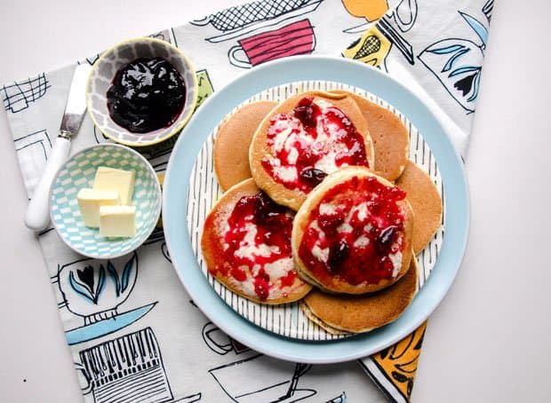 plate of pancakes with jam