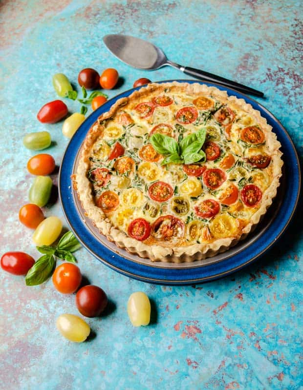 Tomatoe and Bacon Tart on plate with tomatoes