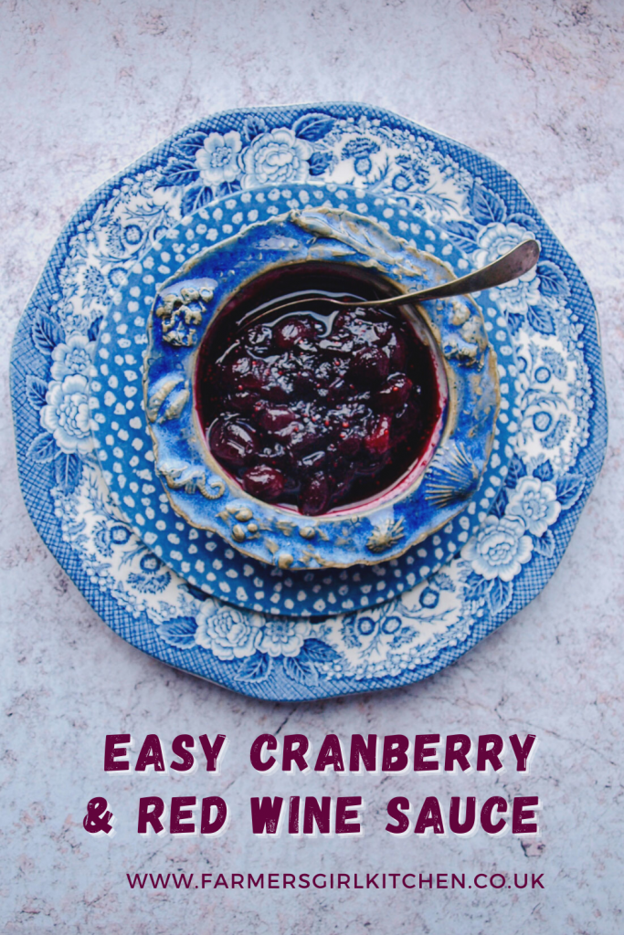 Overview of bowl of Cranberry & Red Wine Sauce with spoon